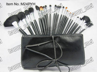 Wholesale Leather Pieces Black - Factory Direct DHL Free Shipping New Makeup Brushes MC 24 Pieces Brush Sets With Leather Pouch!
