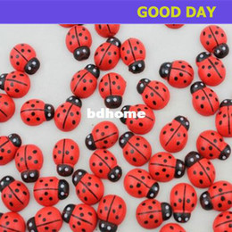 Wholesale Red Sticker Paper - 1000pcs lot Mini Painted Red Lady bug Wood Ladybug Magnet Stickers Book Paper Photo Sticker Fridge Sticker 13x10mm, wholesale