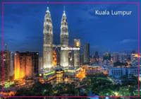 "Wholesale Tourist Magnets Wholesale - Free Shipping Over $12, Malaysia Kuala Lumpur City Twin Towers Scenery Tourist Rectangle 3""*2"" Metal Fridge Magnet 5379"