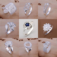 Wholesale Crossover Rings - Newest style Free Shipping Mixed Order Multi Styles 925 Silver Hearts Crossover Dragon Pave Fashion Rings Hot Sale 8 Size