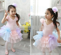 Wholesale Dress Girl Yarn Bowknot - Princess Girls 2014 Lace Gauze Tulle Bowknot Pearl Beads Ballet Dress Children Clothing Child Kids Kid Yarn Tutu Performance Dresses D2519