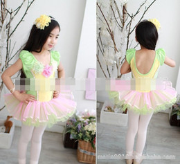 Wholesale Green Gauze Dress - Princess Girls 2017 Cotton Lace Gauze Tulle Flower Beads Ballet Dress Children Clothing Child Kids Kid Yarn Tutu Performance Dresses D2520