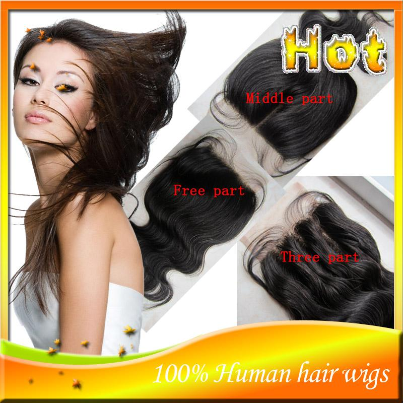 Cheap Peruvian Virgin Human Hair 3 Part Lace Top Closure Lace Closure Bleached Knots With Baby Hair In stock 3.5x4'' 4x4'' 5x5''