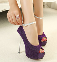 Wholesale High Heel 4cm - Dress Shoes Prom Evening Shoes Wedding Shoes Purple Lint Women Shoes Open Round Toe Platform 4cm High Heel 13.5cm c73a55