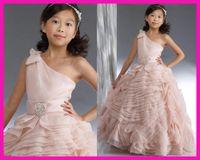 Wholesale Organza Chiffon Flower Girl Dresses - 2015 Wedding Dresses Princess Light Pink One Shoulder Tiered Organza Floral First Communion Flower Gilr Dresses Dress