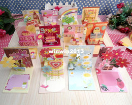 Wholesale Greeting Cards Pop - 8.3*7.2cm mixed patterns 3d pop up flowers birthday greeting card with envelope present thank you gift cards