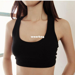 Wholesale Convertible Sports Bra - Hot Sale Womens Sports Bra Cropped Tank Tube Tops Bandeau Yoga Racerback Sleeveless Sexy Non-Convertible Straps Vest WF-5327