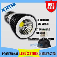 Wholesale High Power 5w Dimmable Mr16 - NEWESTX100 DHL Free shipping High power Dimmable Led COB Lamp 5W E27 GU10 E14 GU5.3 110-240V MR16 Led Light Spotlight led bulb downlight
