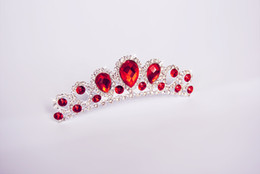 Wholesale Beautiful Queen Hair - Top Quality Free Shipping Beautiful Queen Crowns Wedding Bridal Tiaras Jewelry Red Crystal Hair Ornaments Hair Accessories DL11300