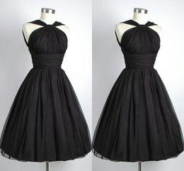 Wholesale Black Chiffon Dress Short - 2014 Black Graduation Dresses Under $100 Vintage Party Dress A-Line Halter Chiffon Pleated Short Cocktail Dresses For Graduations