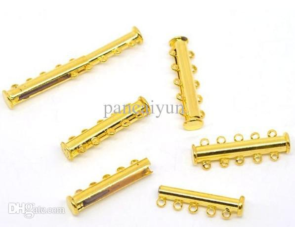 !Gold Plated 5-Strands Magnetic Slide Clasps 30x10mm