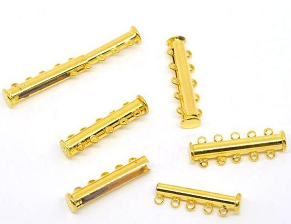 Free Shipping!50pcs Gold Plated 5-Strands Magnetic Slide Clasps 30x10mm