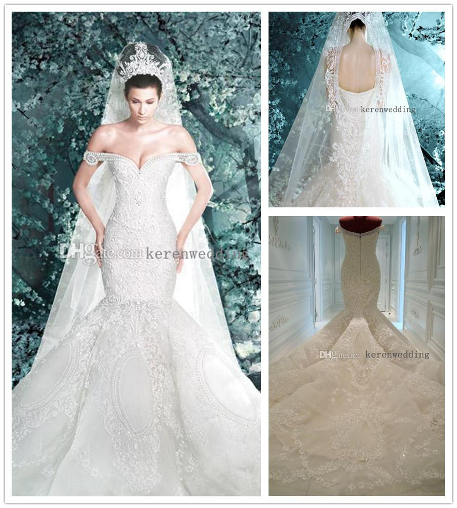 Real Image New Arrival Michael Cinco Sheer Mermaid Wedding Dresses ...
