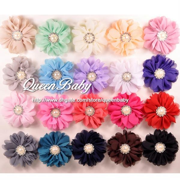 Scallop Ruffuled Ballerina Chiffon Petal Flowers with Bling Pearl Button,Baby Headbands flower, Infant Headbands 60pcs/lot Trail Order