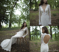 Wholesale Sxey V - New Sxey Sheer Wedding Dresses Berta Bridal Sheath Backless Deep V Neck Long Sleeve Lace Satin Bridal Gowns Free Shipping
