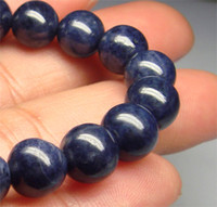 Wholesale natural blue sapphire beads - Wholesale Natural Genuine Blue Sapphire Bracelet Stretch Bracelet Round Fit Jewelry beads 8mm 01540