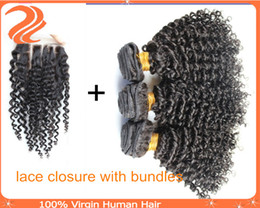 Wholesale Hair Weaving Bond - Brazilian kinky curly hair 3 bundles with closure 5A beauty & health brazilian kinky curly weave and 3 way part lace closure bleached knots