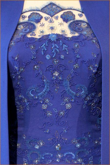 العرف 2014 جديد مطرز الأزرق الملكي النساء اللباس فساتين المشاهير فساتين رسمية