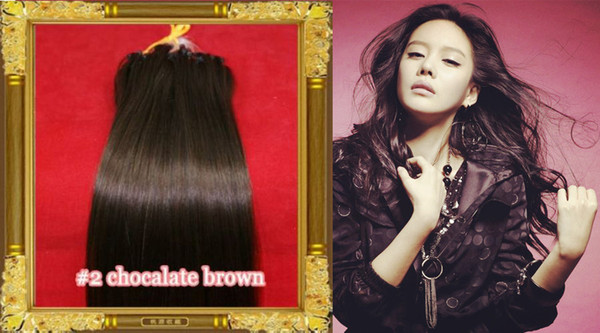 """Wholesale --16""""- 24"""" #2 dark brown 100g/lot (1g/s) Brazilian Remy Human Loop Hair Micro Ring Hair Extensions dhl free shpping"""