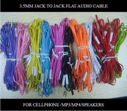 Wholesale Flat Mini Speakers - 1M 3.5mm to 3.5mm audio Car Aux Flat Noodle Cable for cellphone mp3 mp4 mini speaker