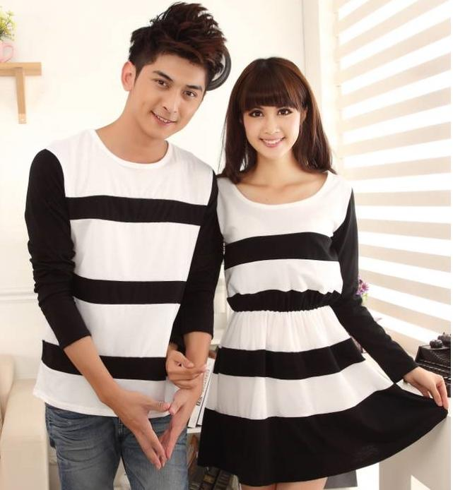 2014 Spring New Korean Female Couple Hit Color Round Neck ...