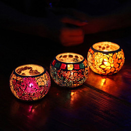 Wholesale Votive Candle Cups - Romantic Glass Candle Holder Color Tealight Candle Cup Stand Valentines Gift 4pcs lot SH270