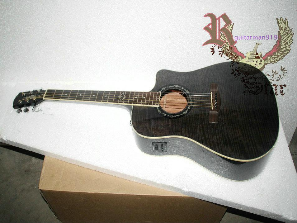 wholesale new custom acoustic electric guitar in gray with eq musical instruments electric. Black Bedroom Furniture Sets. Home Design Ideas