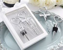 Wholesale Heart Shaped Bottle Openers - 20pcs lot=10pair heart shaped wedding party gift bride wine bottle stopper groom Wine opener with box