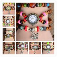 reloj de cuentas de cuarzo al por mayor-Moda Vintage Beads Bracelet Rope Watch Retro Charm mujeres de cuero genuino cuarzo relojes de pulsera 50pcs DHL envío gratis