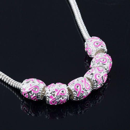 Silber Emaille Pink Ribbon Perlen Breast Cancer Awareness Lose Perlen Fit Bettelarmband