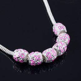 Wholesale Enamel Awareness Ribbons - 50Pcs,Silver Enamel Pink Ribbon Beads Breast Cancer Awareness Loose Beads Fit Charm Bracelet