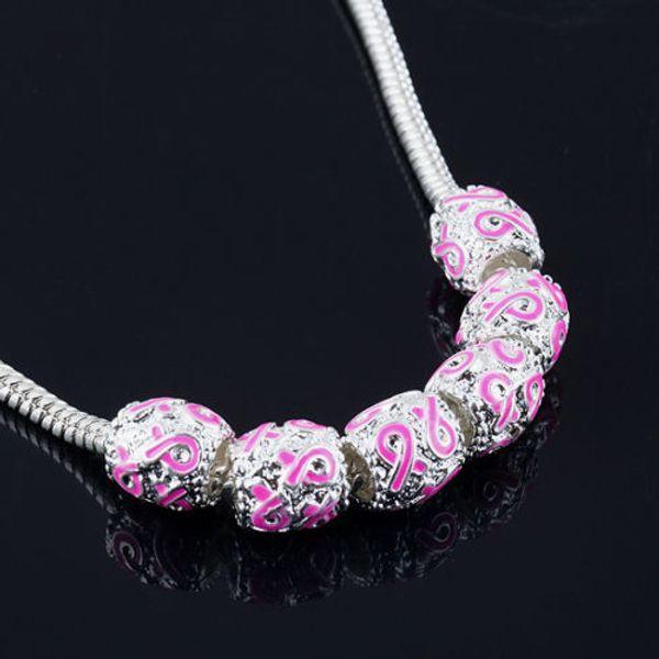 50Pcs, Silber Emaille Pink Ribbon Perlen Breast Cancer Awareness Lose Perlen Fit Bettelarmband