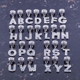"Wholesale European Charm Crystal Alphabet - Bulk One Set AB Crystal Rhinestone ""A-Z"" Alphabet Beads 26 Letters Charms Pendants Findings Jewelry Making"