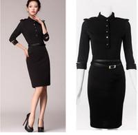 Wholesale Dresses Beckham - Celeb Womens dresses fashion 2015 Stand-Up Collar 3 4 Sleeve Slim Fit Belt vintage Pencil With Epaulettes,victoria beckham Black dress
