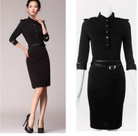 Casual Dresses black pencil dress with sleeves - Celeb Womens dresses fashion Stand Up Collar Sleeve Slim Fit Belt vintage Pencil With Epaulettes victoria beckham Black dress