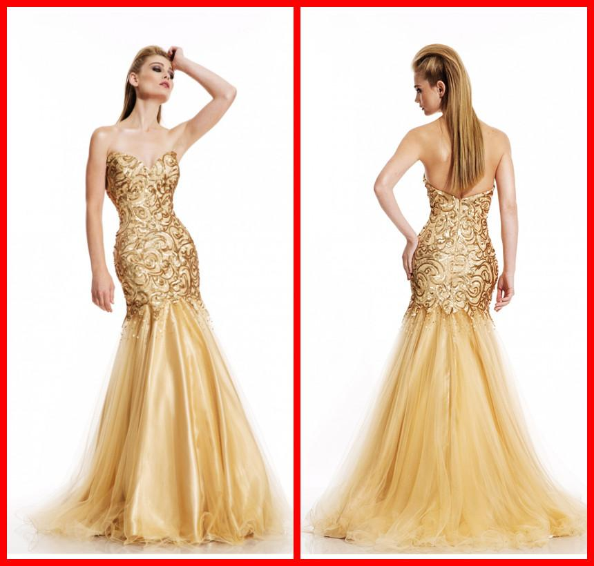 2014 Mermaid Prom Dresses Gold Color Evening Dress Sweetheart ...