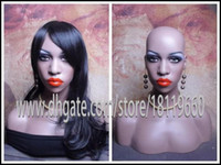 Wholesale Mannequins For Jewelry Display - Life-size Human-like looking Africa American Black women Mannequin head display for Human Hair Lace Wigs, Jewelry show Pure manual Product