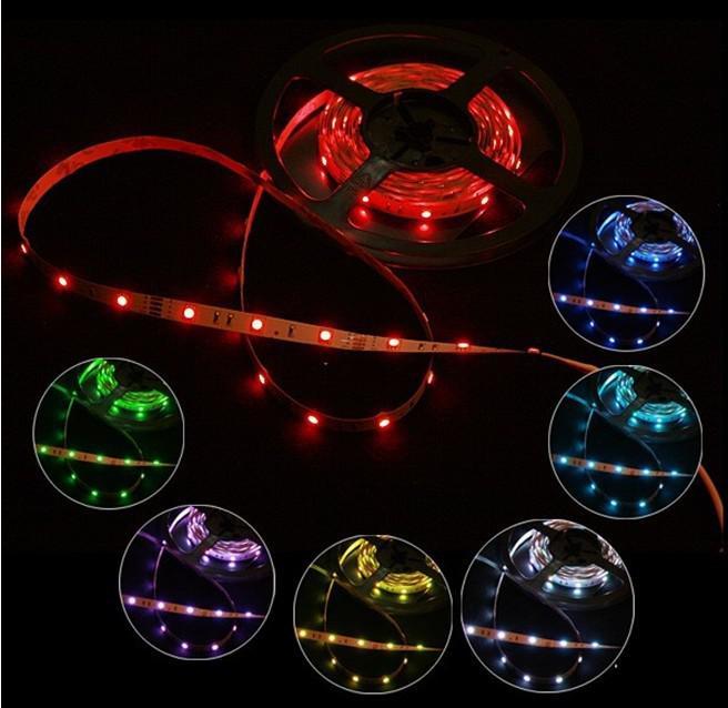 クリスマス10M RGB LEDストリップ照明5050 SMDフレキシブルテープ30LED 5M /ロール非防水DC 12V 16色10メートル車のホーム屋内ライト