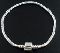 Wholesale Loose Fill Wholesale - Free shipping Snake Chain Bracelets Fit European loose Beads 19cm