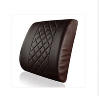 black leather chair office - New Car Office Home Comfortable Check pattern leather Memory Foam Chair Lumbar Back Support Cushion Pillow