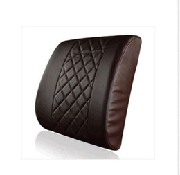 Wholesale lumbar support cushion pillow - New Car Office Home Comfortable Check pattern leather Memory Foam Chair Lumbar Back Support Cushion Pillow