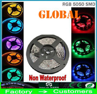 Wholesale Led Light Roll Colors - Christmas 50M RGB LED Strip lighting 5050 SMD Flexible tape 300LEDs 5M roll non waterproof DC 12V 16 Colors 50meter Car Home indoor lights