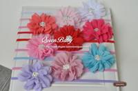 ingrosso fascia di queenbaby-Capesante in chiffon di fiori di petalo con bottoni scintillanti e strass in nylon elastico per capelli 120pcs / lot QueenBaby