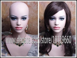 """Wholesale Wigs For Cheaper - High Quality Lifelike Cosmetology 22"""" Fiberglass Realistic mannequin head bust for wig   jewelry collection Cheaper wholesale"""