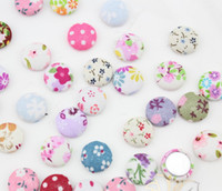 Wholesale Traditional Fabric - Set of 100 pcs handmade Cotton Fabric Covered Buttons - flat backs 15mm, assorted colors