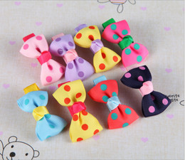 Wholesale 200pcs Kids Girl Princess Baby Spot Printing Ribbon Hair Clip Hair Accessories Color Mix
