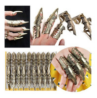 Wholesale Armour Rings - 10pcs Lot New Fashion Vintage Armour Knuckle Finger Lengthen Gothic Punk Cool Rings Unisex Wholesale Free SHipping[VRA63*10]