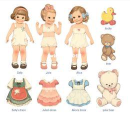 Wholesale Dolls Samples - DIY dress the little girls paper doll mate card set envelope