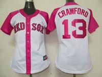 "Wholesale Cheap Baseball Gifts - Cheap Baseball Jersey Boston ""Red Sox"" #13 Carl Crawford White Pink Splash Fashion Women Stitched Jerseys Highest Quality Mother's Day Gift"