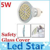 Wholesale Cree Mr16 12v Leds - CE ROHS + Safety Glass Cover Led GU10 E27 MR16 Lights Lamp 5W 48 Leds SMD 3528 Led Bulbs Light 120 Angle Cool White Warm White 110-240V 12V